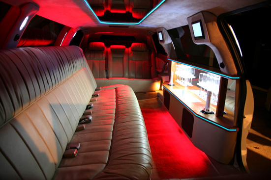 Inside Holden 10 seater stretch limousine