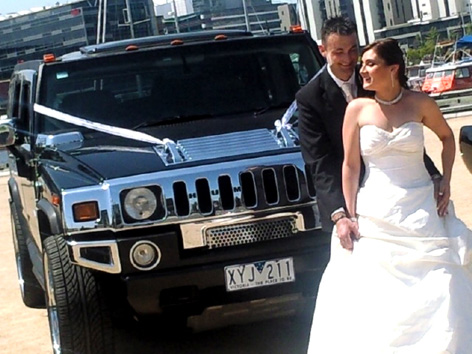 Luke and his bride looking great for the hummer pictures