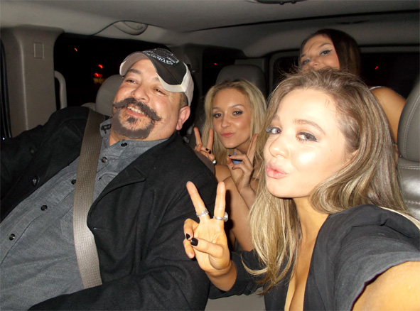 Inside the Hummer at CQ night club - girls getting a free ride