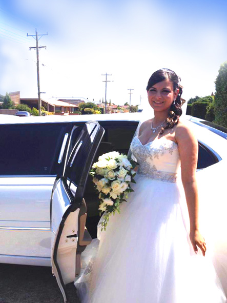 White wedding, white dress, white limousine service