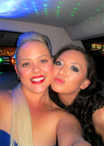 Girls having fun on a hens night kiss kiss
